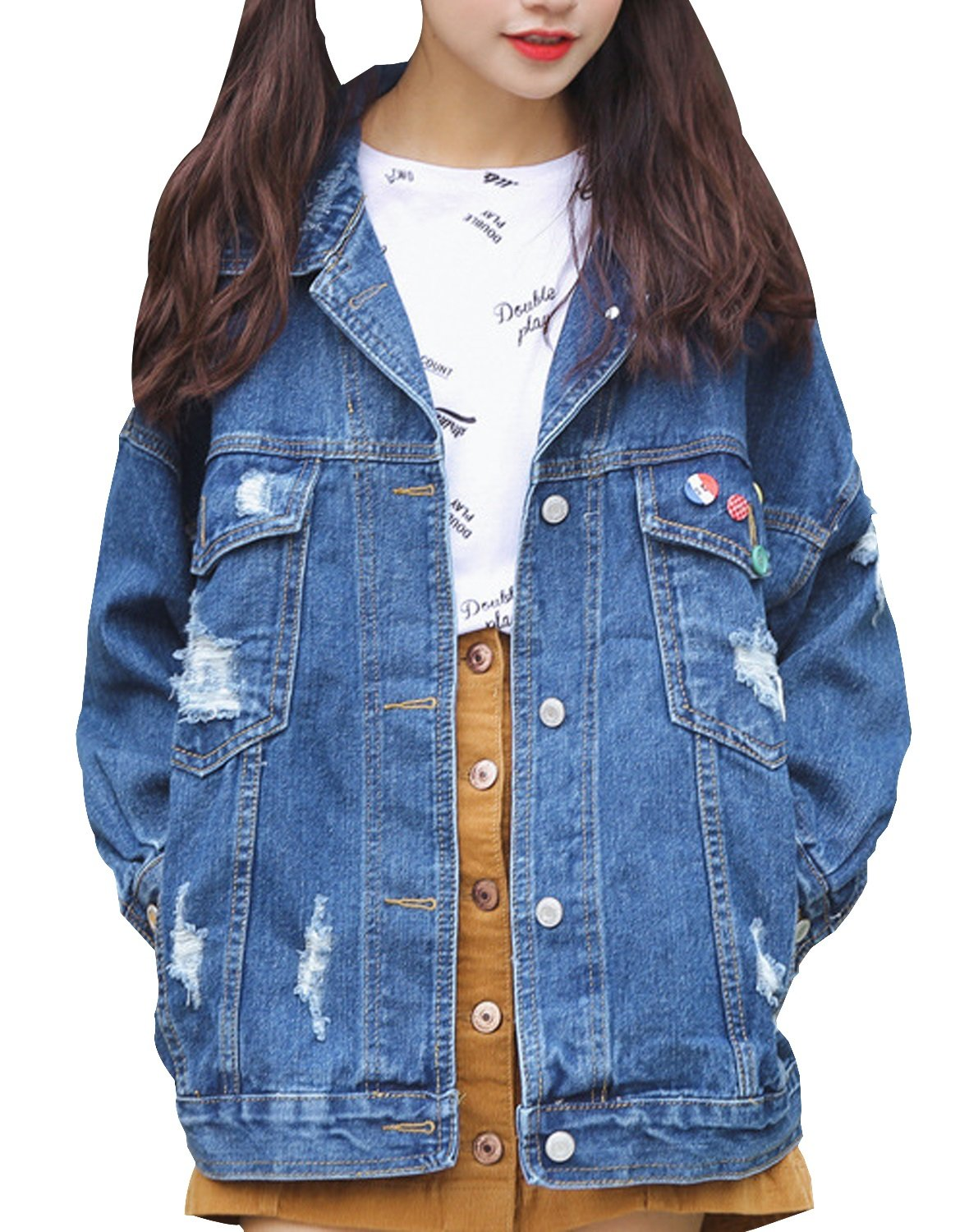MorySong Women's Boyfriend Denim Jacket Loose Washed Distressed Jean Coats With Pocket M Blue