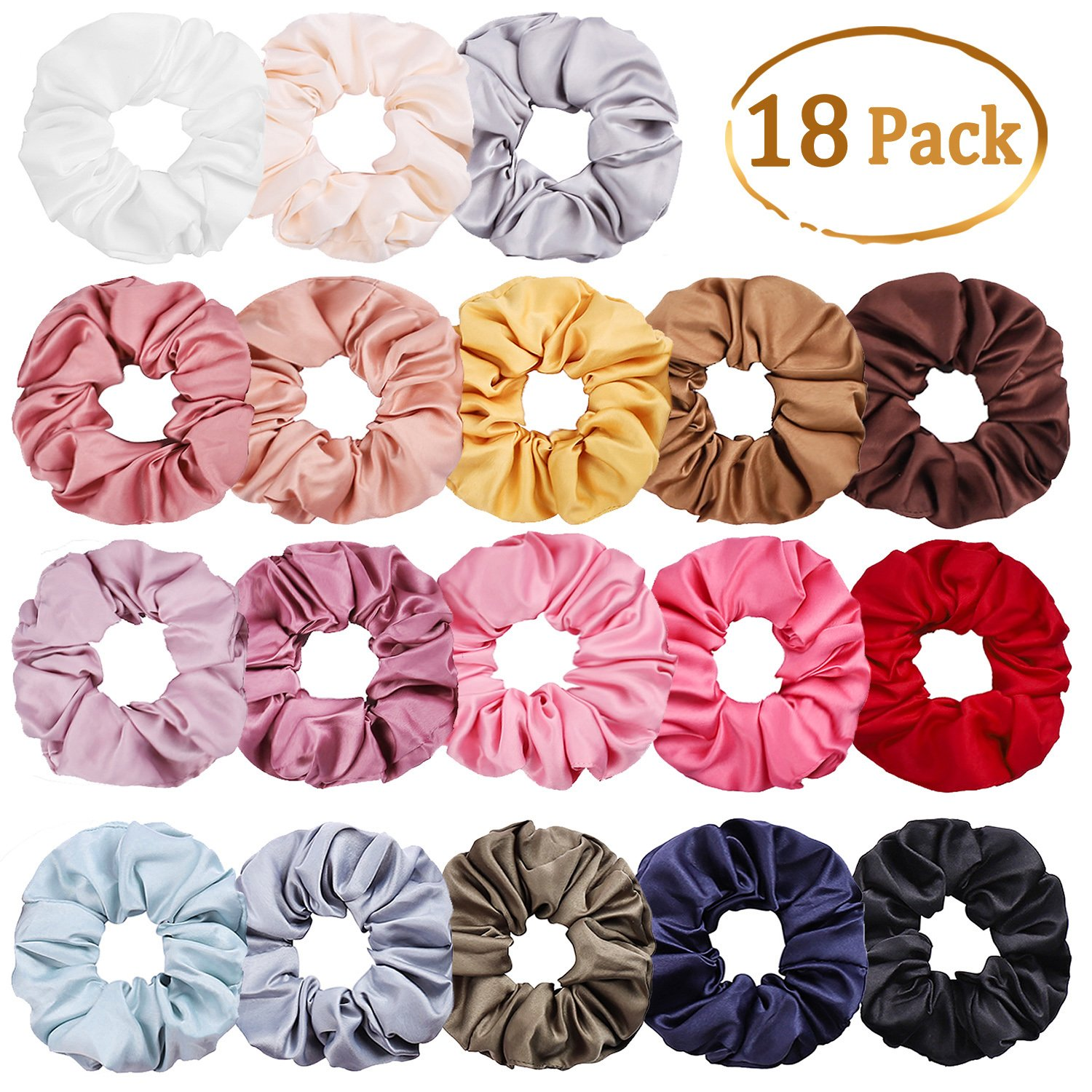 Whaline 18 Colors Satin Hair Scrunchies Elastic Hair Bobbles Ponytail Holder Hair Scrunchy Vintage Hair Bands Ties for Women Girls by Whaline