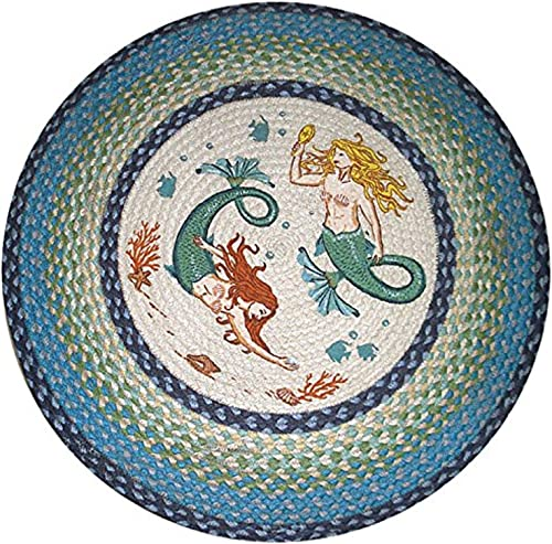 Earth Rugs Round Rug, 27 , Light Dark Blue