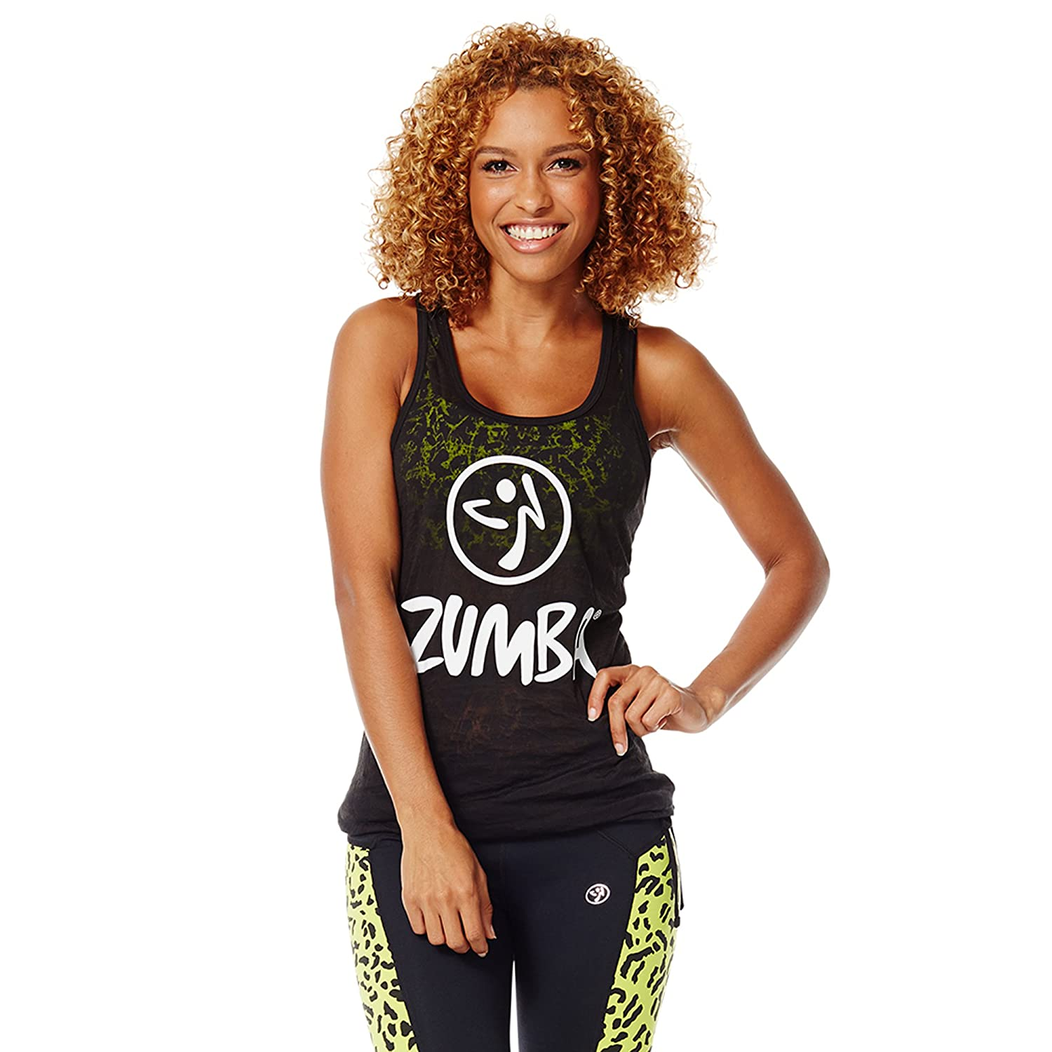 Zumba Women's Bubble Hem Breathable Print Workout Tank Top
