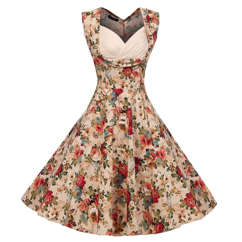 ACEVOG Damen Retro Cocktailkleider 50er Jahre Rockabilly Sommerkleid Abendkleider mit Blumenmuster Knielang Herstellergröße: S-XXL