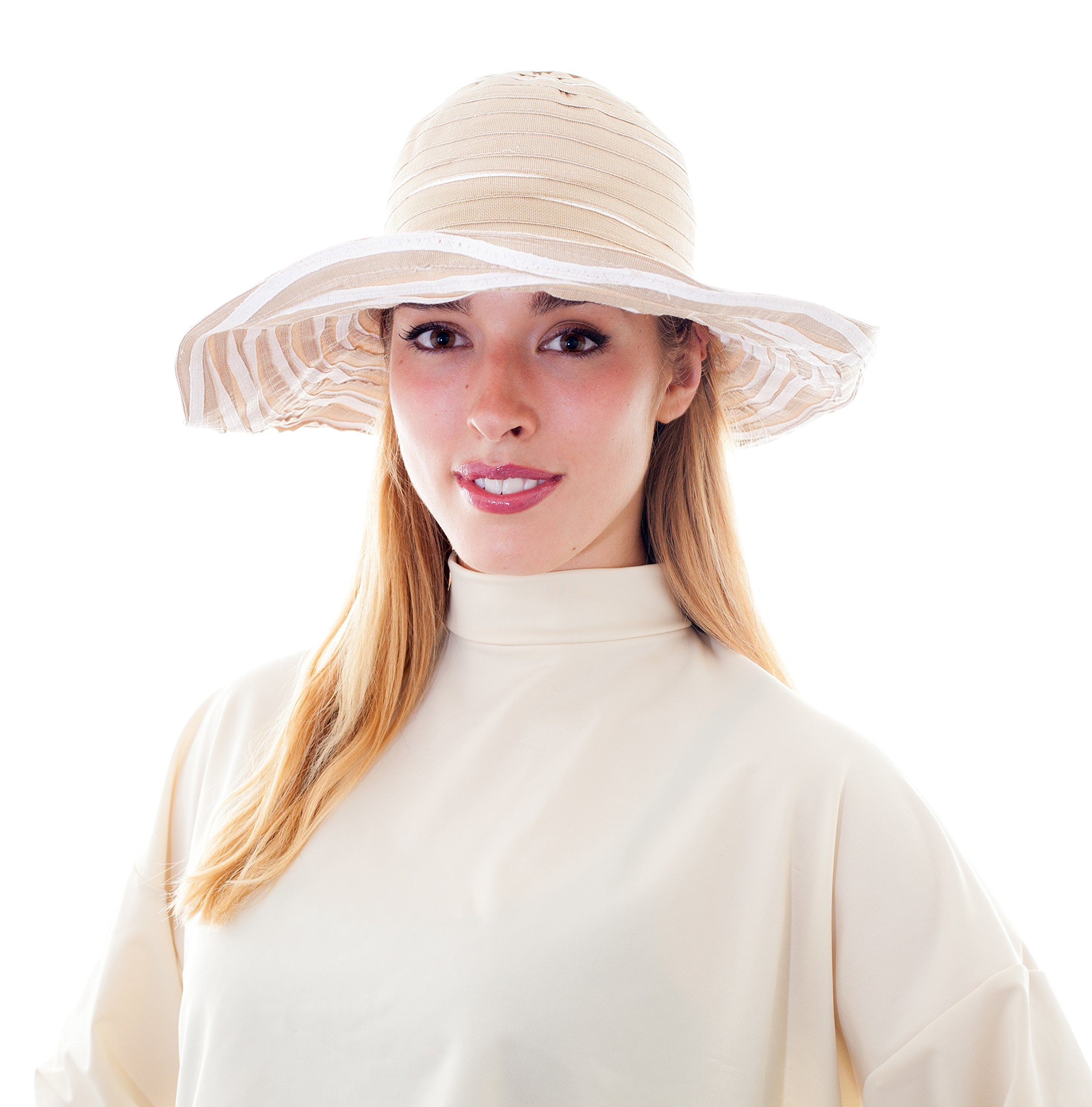 Sunwrap Cooling UPF 50+ Sun Protection Shawl UV Body Wrap Protection for Face, Chest, Neck, Back, Arms, Shoulders - Sunscreen Like Scarf, Bolero, Bandana, Arm Sleeves (Tan/Cream)