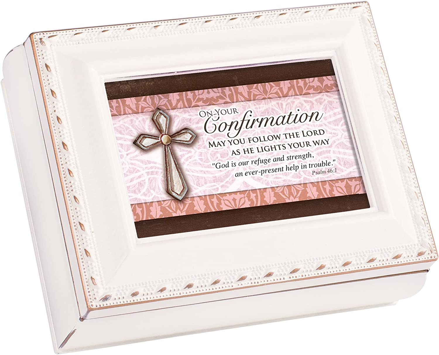 Cottage Garden Confirmation Follow Ivory Rope Trim 4.5 x 3.5 Tiny Square Jewelry Keepsake Box