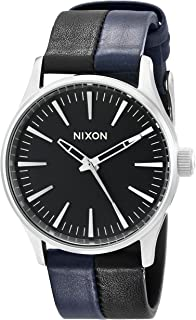 and nixon men black en sentry s watches gold premium leather us