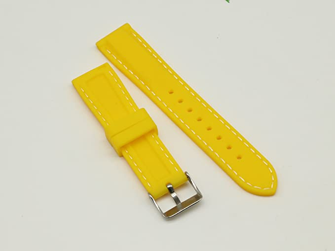 Watch Wristbands 24mm Yellow with White Line Stainless Steel Buckle for Smart and Traditional Watches | Amazon.com