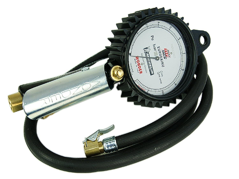 Medidor de presión de Michelin Wonder Eurodainu, con manómetro, tubo de 1,5 m, de 0,7 a 12 bar, rosca interior de 1/4