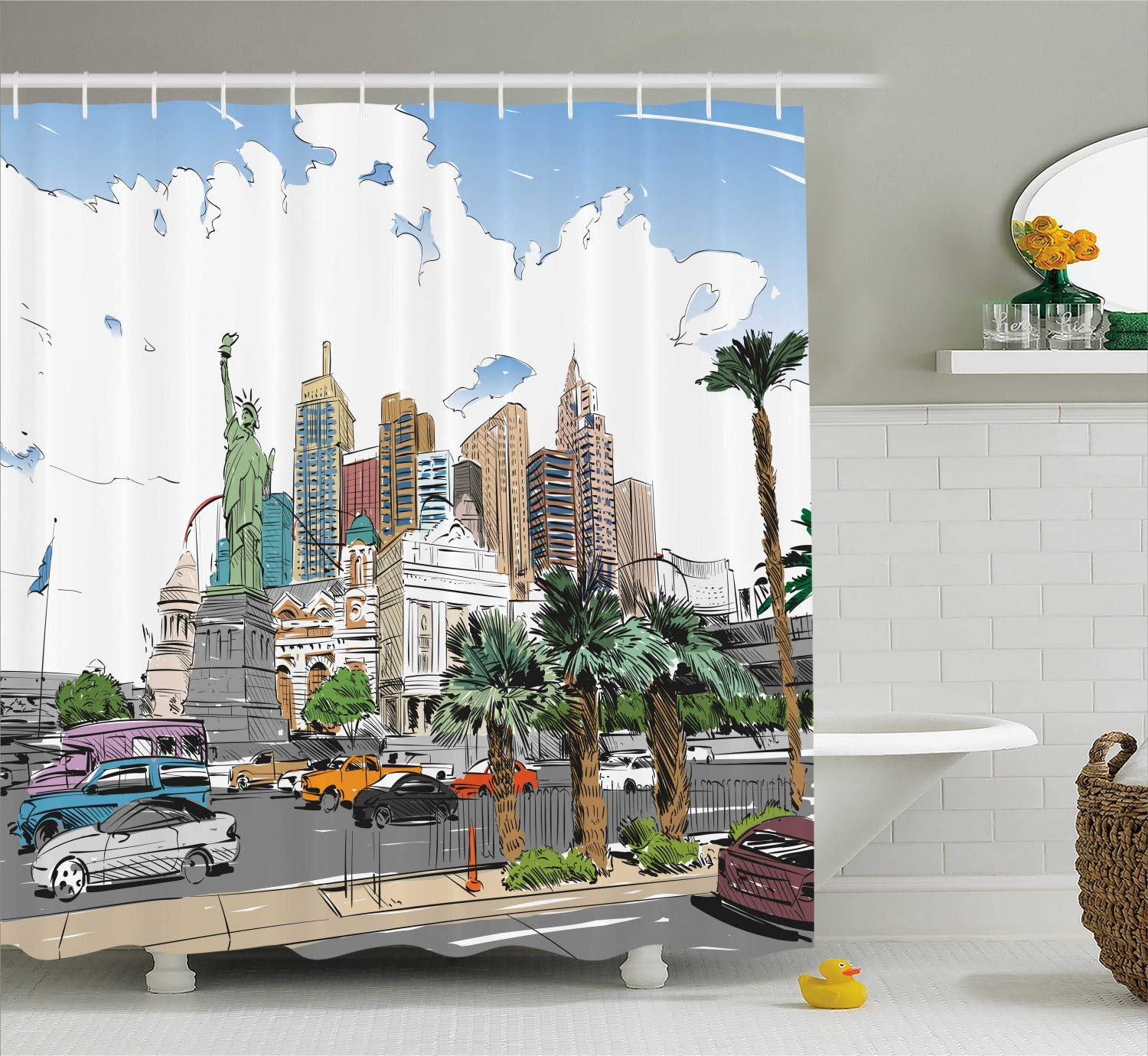 Printing USA Shower Curtain, Hand Drawn Las Vegas City Nevada Street Sketch Buildings Statue of Liberty Cars Palms, Waterproof Colorful Bathroom Showers, 60 x 72 Inches Multicolor