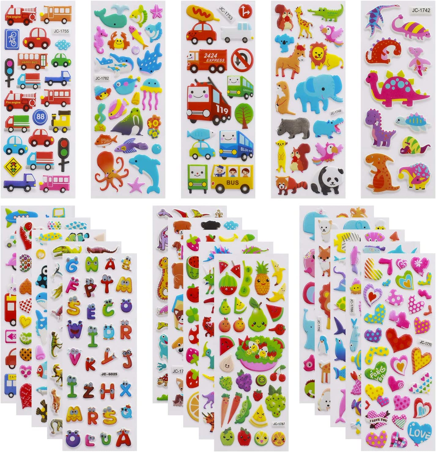 3D Stickers for Kids Toddlers Vivid Puffy Kids Stickers 24 Different Sheets Over 550 Stickers, Colored 3D Stickers for Boys Girls Teachers, Reward, Craft Scrapbooking