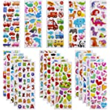 3D Stickers for Kids Toddlers 550+ Vivid Puffy Kids Stickers 24 Different Sheets, Colored 3D Stickers for Boys Girls Teachers