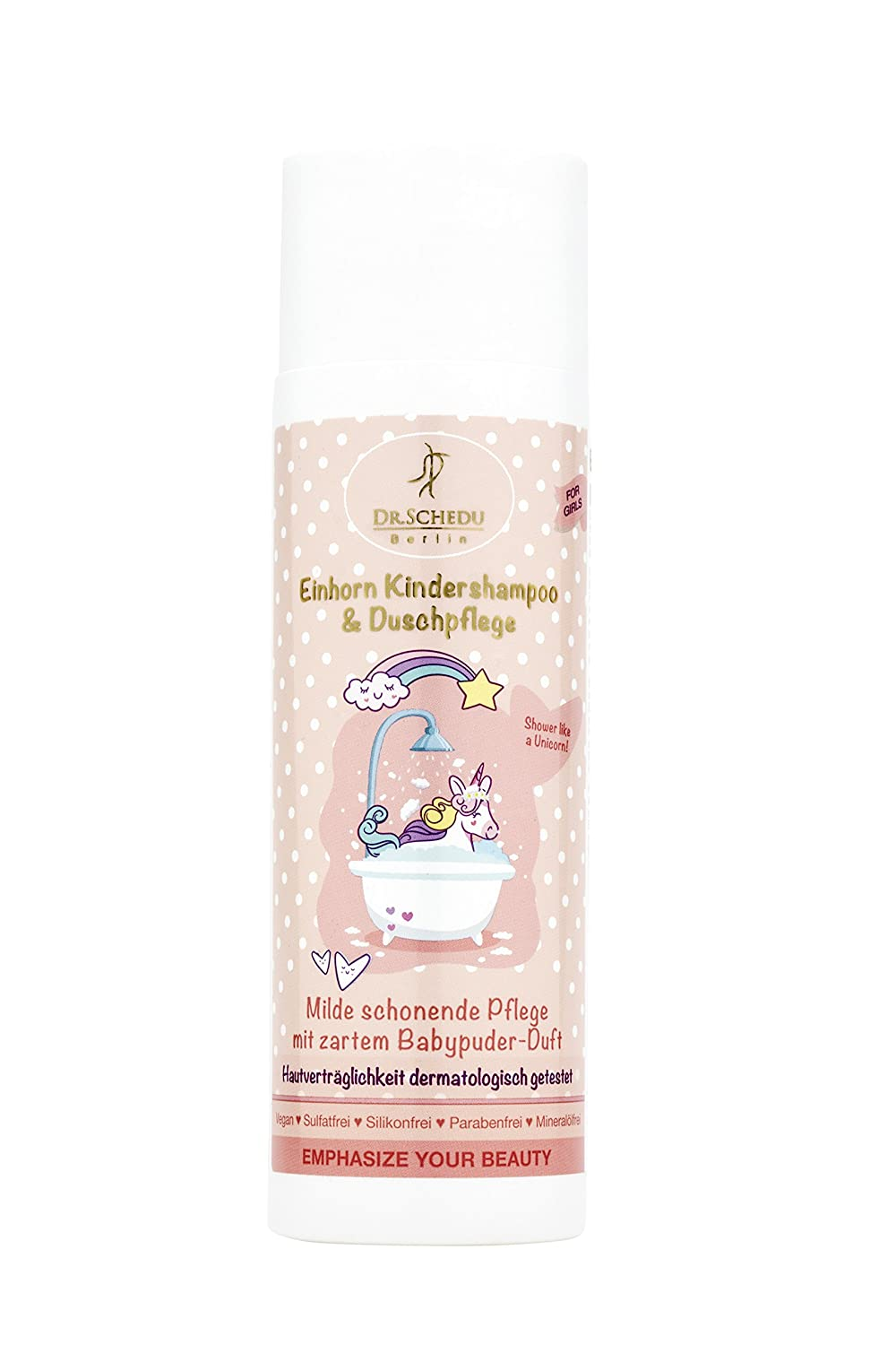 Dr. Schedu Berlin Unicorn Shampoo and Body Wash 200 ml. Vergan, Free of Silicone, Mineral Oils, parabens and colorings. with Broccoli Oil, Aloe Vera, Jojoba Oil and Pantheno