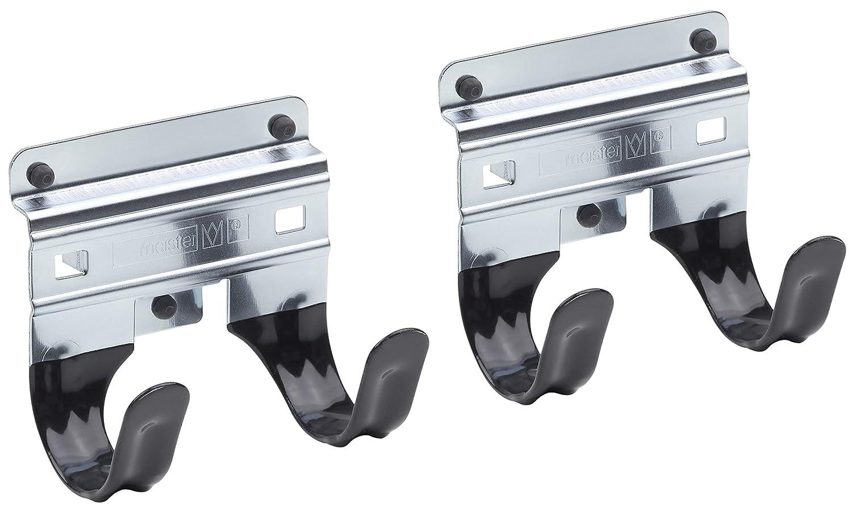 Meister Gerätehalter Doppelhaken - 2 Stück, lose - Leichte Montage - Für T-Griffe/Wandhalter / Werkzeughalter/Gartengeräte-Halter/Spatenhalter / 9952540 MEISTER Werkzeuge GmbH