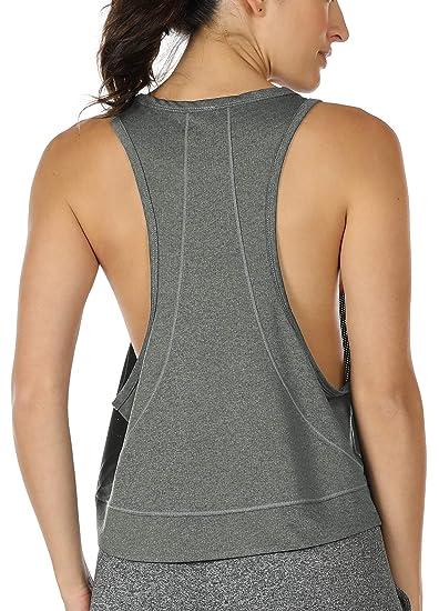 icyzone Damen Yoga Fitness Tank Top Lang Training Jogging /Ärmelloses Shirt Sport Oberteil Tops