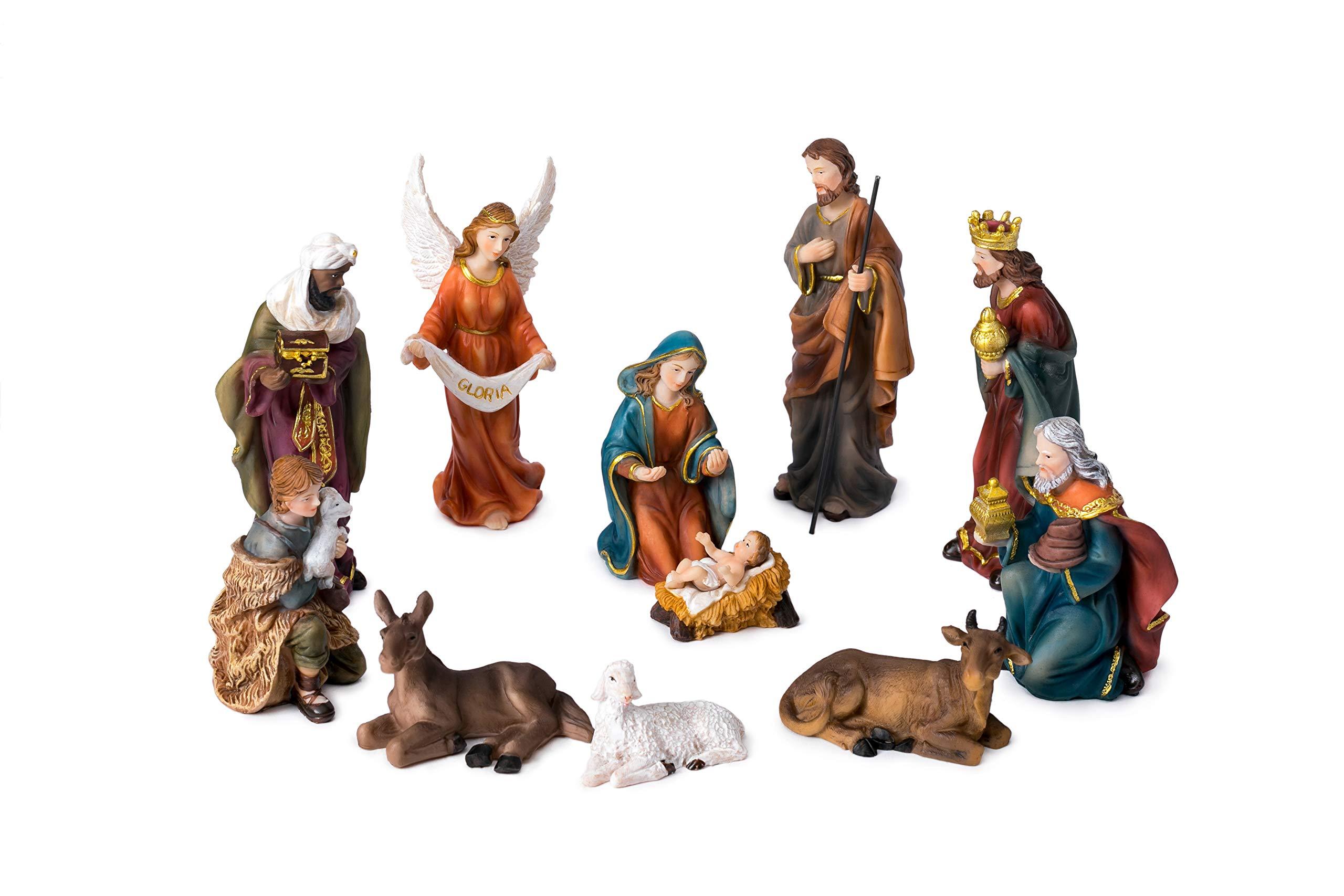 Joystarcraft Christmas Jesus Nativity Set Resin Hand-Painted Religious Christmas Nativity Figurine Tablepiece Set of 11