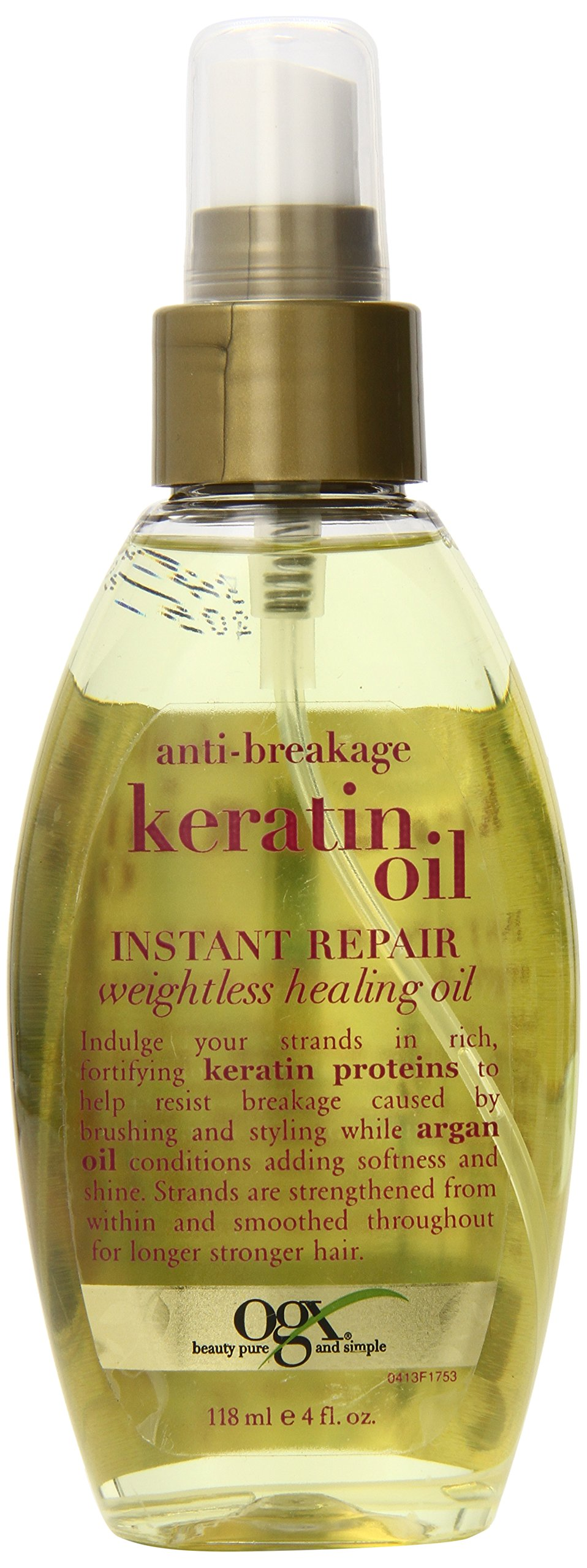 OGX Weightless Healing Oil, Anti-Breakage Keratin Oil Instant Repair, 4oz