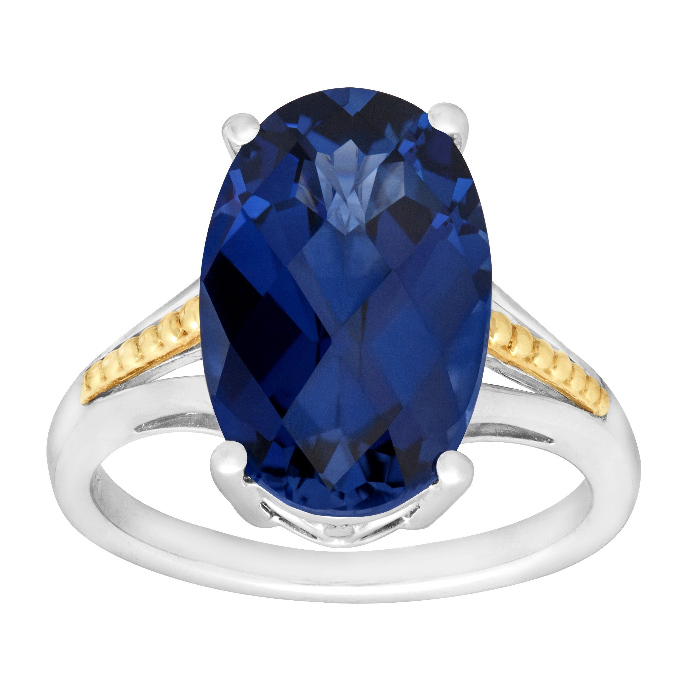 9 1/2 ct Created Ceylon Sapphire Cocktail Ring in Sterling Silver & 14K Gold