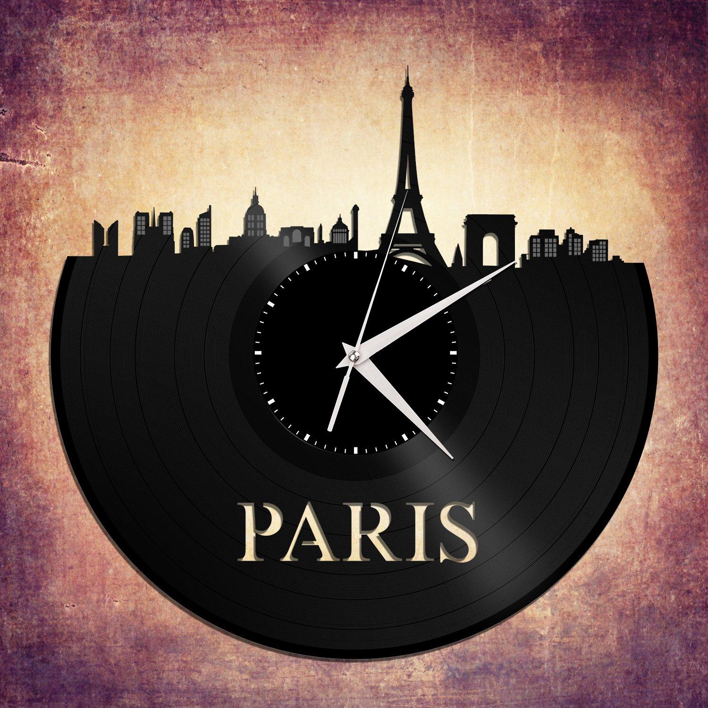 VinylShopUS – Paris Vinyl Wall Clock Cityscape Retro Decor