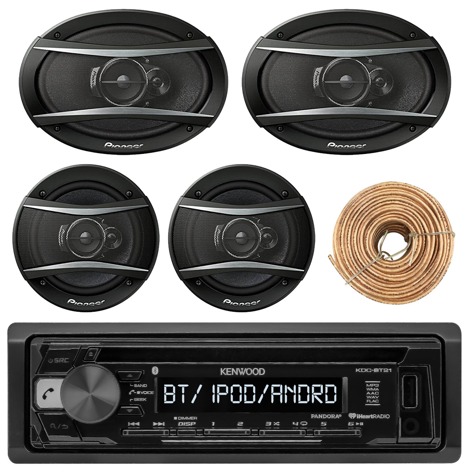 Kenewood KDCBT21 Car Bluetooth Radio USB AUX CD Player Receiver - Bundle With 2x TSA1676R 6.5'' 3-Way Car Audio Speakers - 2x 6.5''-6.75'' 4-Way Stereo Speaker + Enrock 50Ft 18 Gauge Speaker Wire