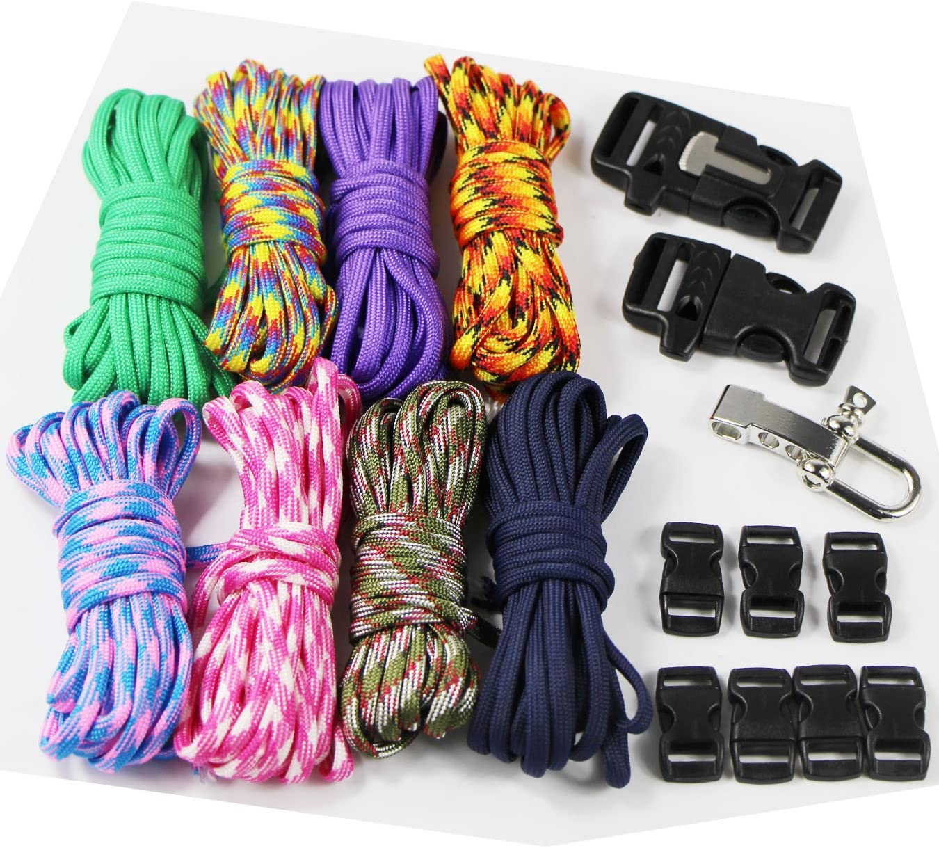 cuerda al aire libre cuerda de supervivencia manual 18 pcs UOOOM Kit con hebillas de pulseras trenzados de paraca/ídas