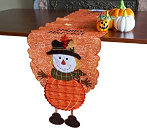 "GRANDDECO Fall Harvest Table Runner, Applique Embroidered Orange Leaves and Boy Dresser Scarf Table Topper for Home Dinner Holiday Thanksgiving Halloween Decoration,Runner 14""x68"""