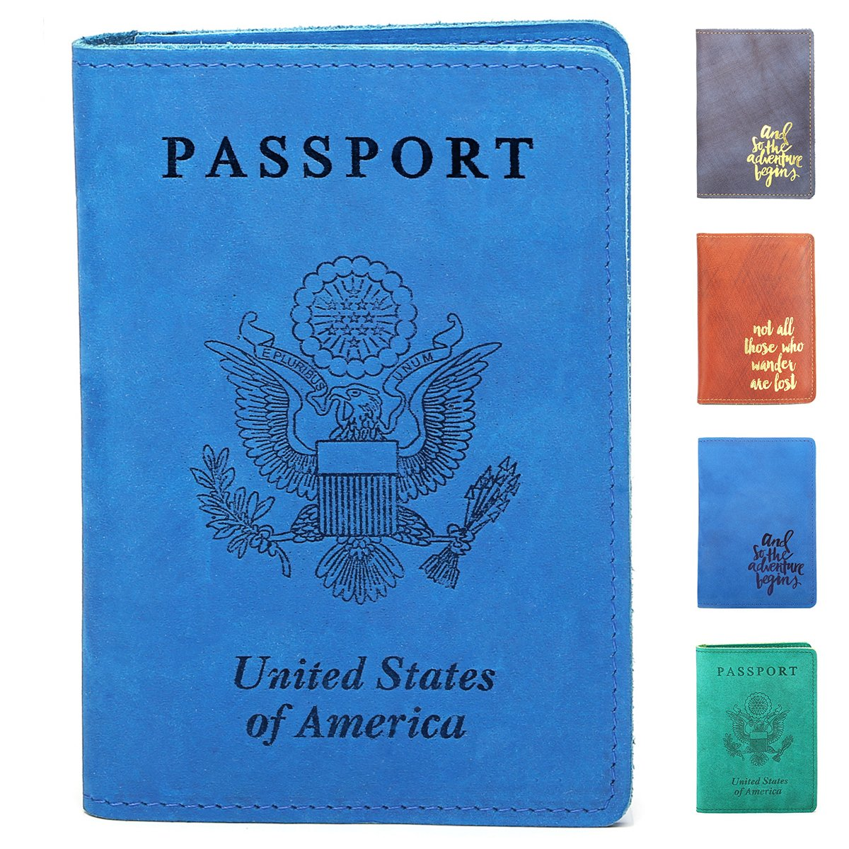 Leathereal RFID Blocking Leather Passport Cover Passport Holder Travel Wallet Passport Wallet Case - Crazy Horse Full Grain Leather(USA-Blue)