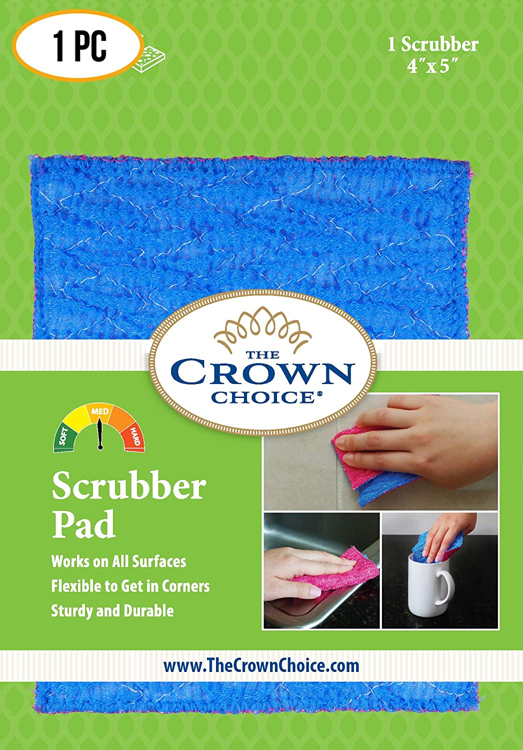 ODOR FREE Scrubbing Pad (1Pk) for Dishwashing and Cleaning | Strong & Scratch Free Scrubber | VERY Durable and Tough Scrub Sponge | No Mildew Smell from Sponges, Dishcloth, Cotton.