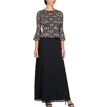 3564ebea16 Amazon.com  Alex Evenings Women s Sequin Lace Mock Dress (Petite and ...