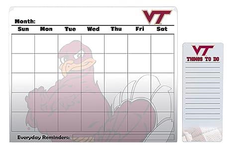 Virginia Tech Calendar.Amazon Com Virginia Tech Hokies 16 X 20 Dry Erase Calendar And 4