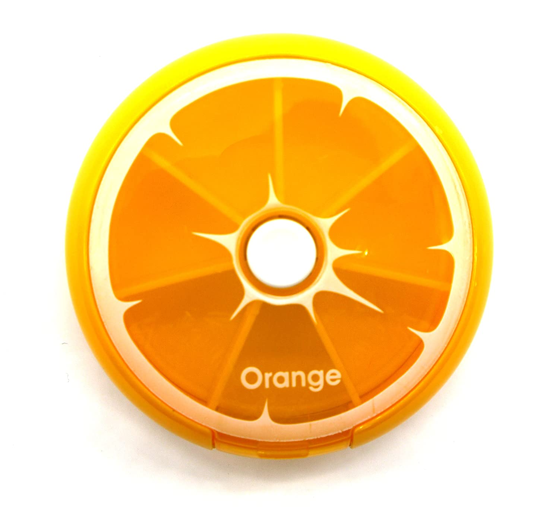 PuTwo naranja bandeja redonda pastillero 7 días dispensador de medicina vitaminas de almacenamiento de contenedores: Amazon.es: Salud y cuidado personal
