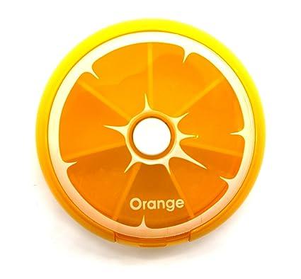 PuTwo naranja bandeja redonda pastillero 7 días dispensador de medicina vitaminas de almacenamiento de contenedores