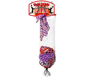 Bundaloo Slam Dunk Basketball Hamper - Over The Door 2 in 1 Hanging Basketball Hoop Or Laundry Hamper Boys & Girls Room Decor - Fun Gift