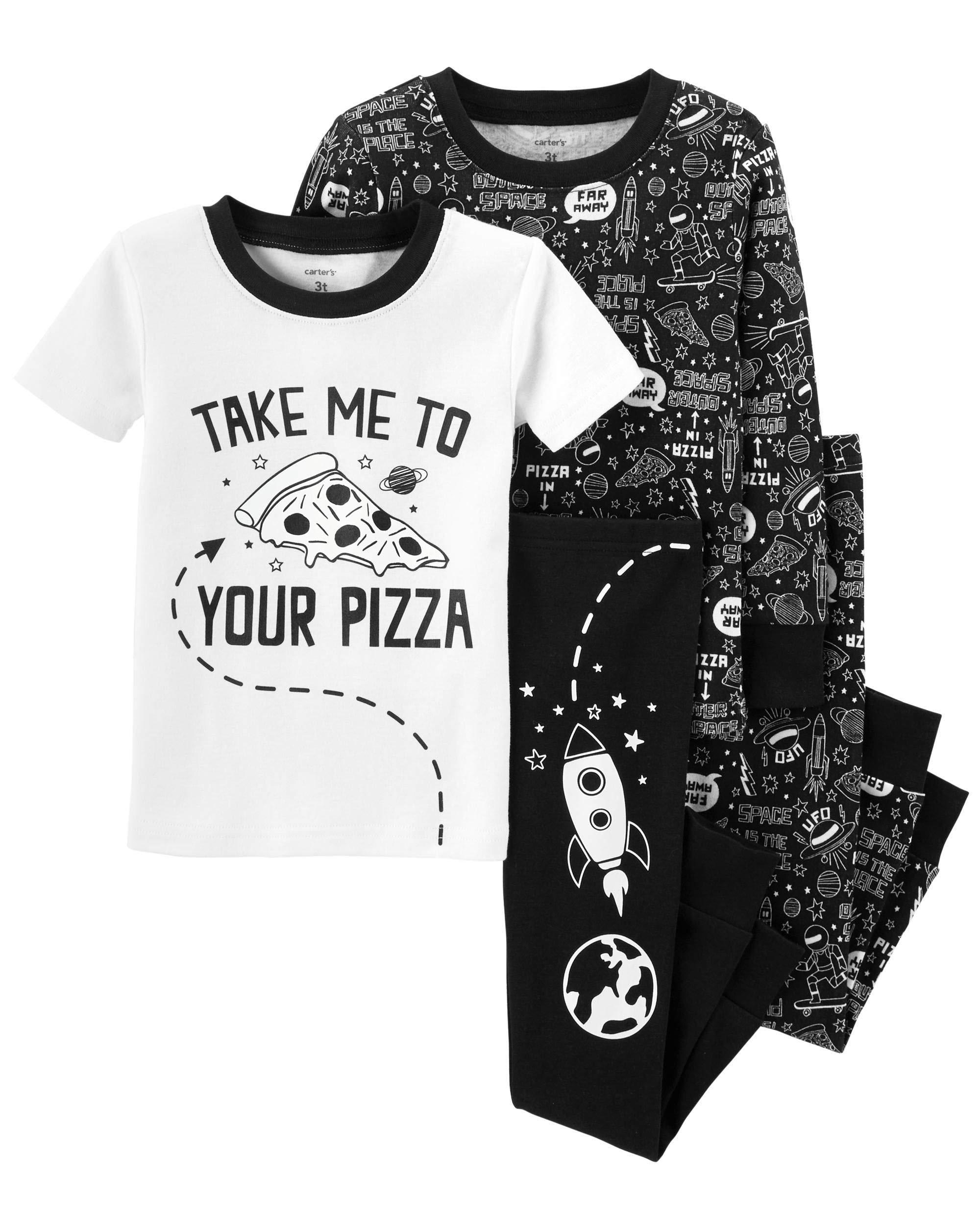Carter's Boy's 4-Piece Snug Fit Cotton PJ Set, Pizza Alien, 4T