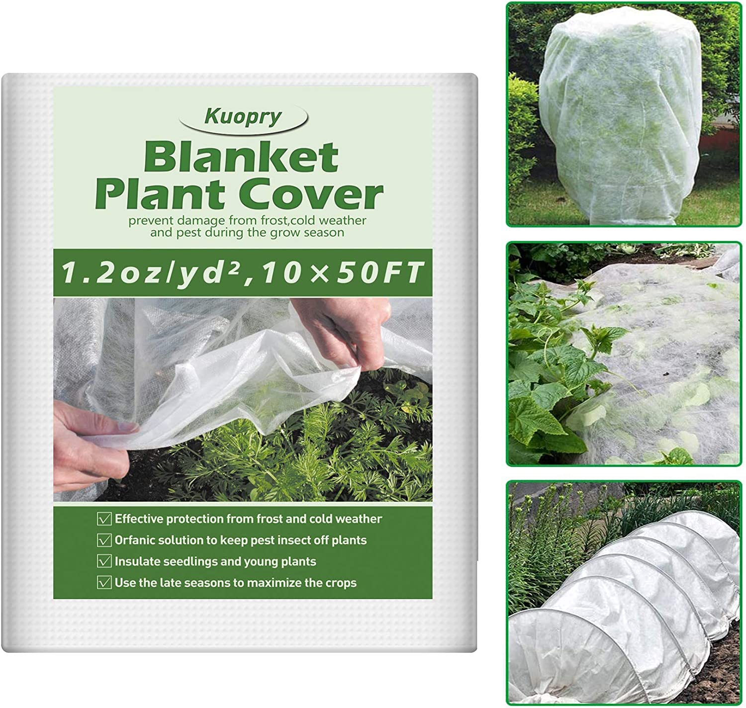 Kuopry Plant Covers Freeze Protection, 10Ft x 50Ft Reusable Floating Row Cover, 1.2 oz/sq Freeze Protection Plant Blankets for Cold Weather, Garden Winterize Cover for Winter Frost Protection