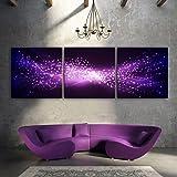 e-home allungato LED Stella stampe su tela (viola) LED Wall Art decorazioni LED lampeggiante stampa fibra ottica pittura, Tela, Purple, 40x40cm*3pcs