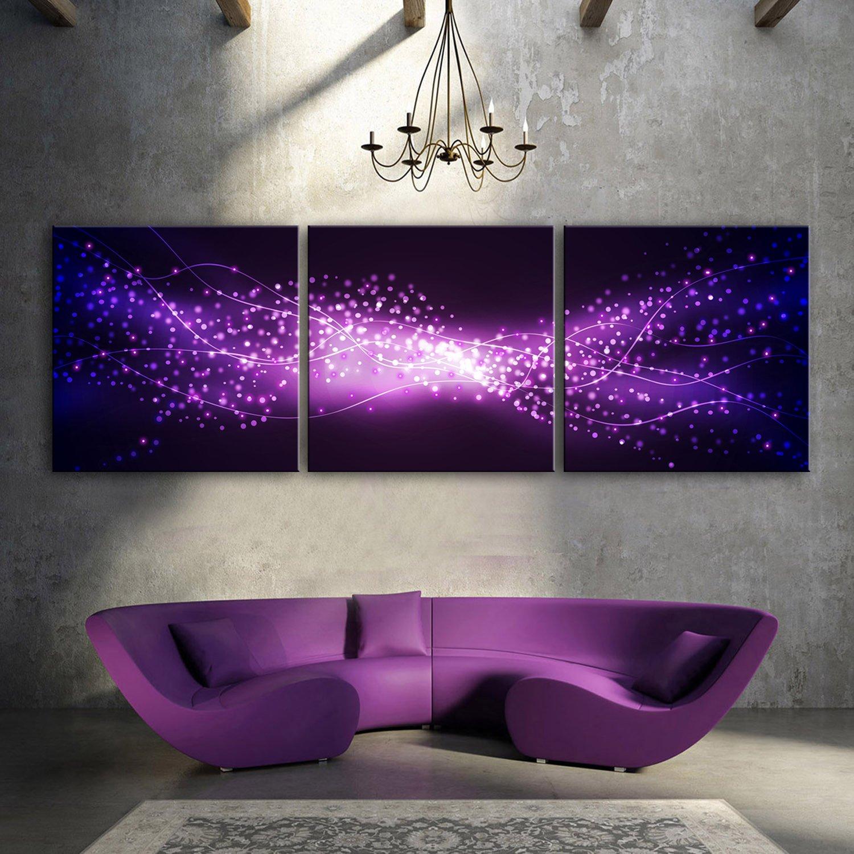 E-Home gedehnt LED Leinwand Drucke (Purple Star) LED Wand Kunstdruck Blinkende Optische Faser Malerei LED Dekorationen, Canvas, violett, 60x60cm3pcs