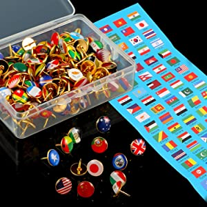 Creative Push Pins National Flag Thumb Tacks Country Map Push Pins for Bulletin Board, Map, Office (Multiple Countries Pattern, 194 Pieces)