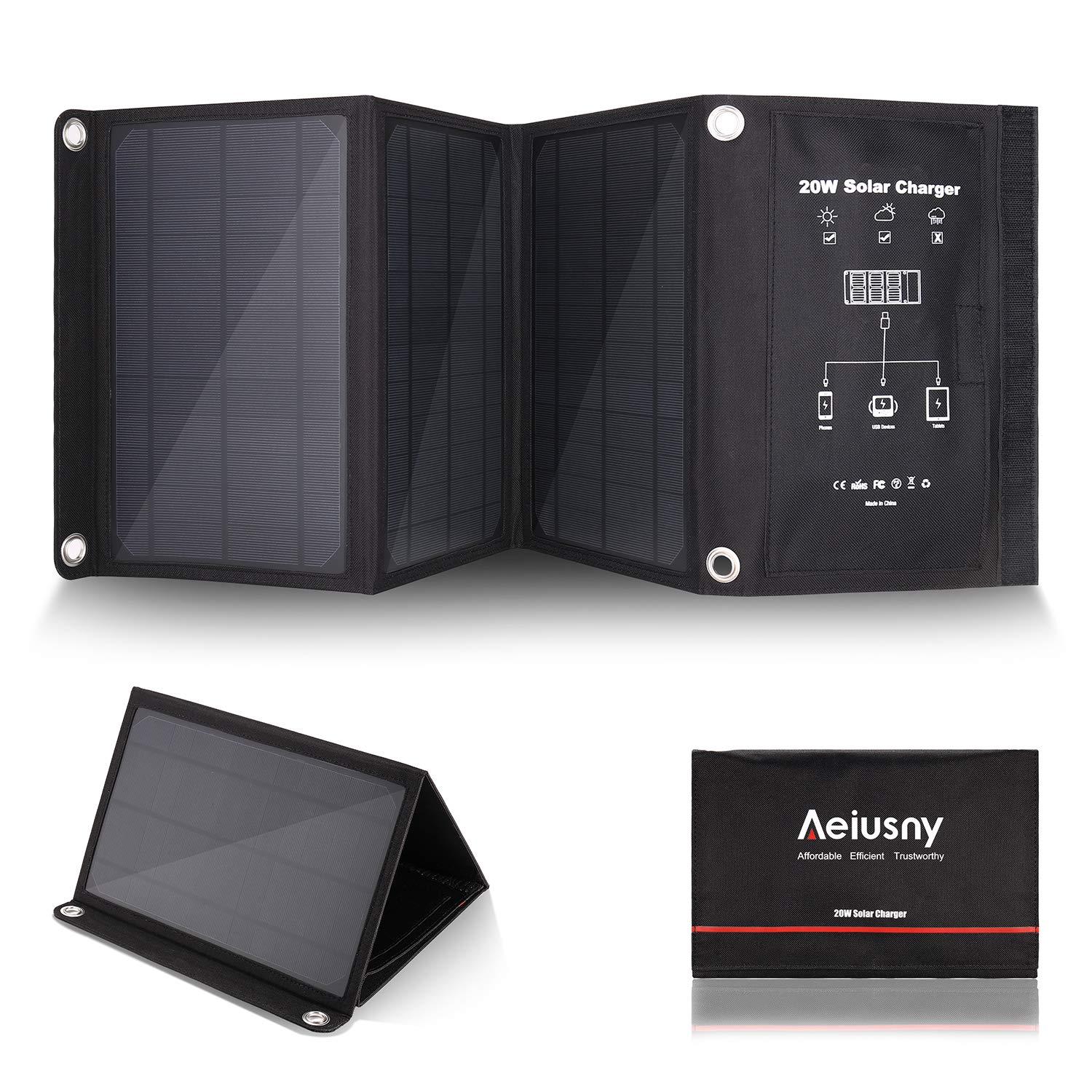 Aeiusny Solar Charger Foldable 20W Solar Panel with 3 USB Ports Waterproof Camping Travel for iPhone Xs XR X 8 7 Plus, iPad, Galaxy S9 S8, Nexus, LG, Any USB Devices, and More