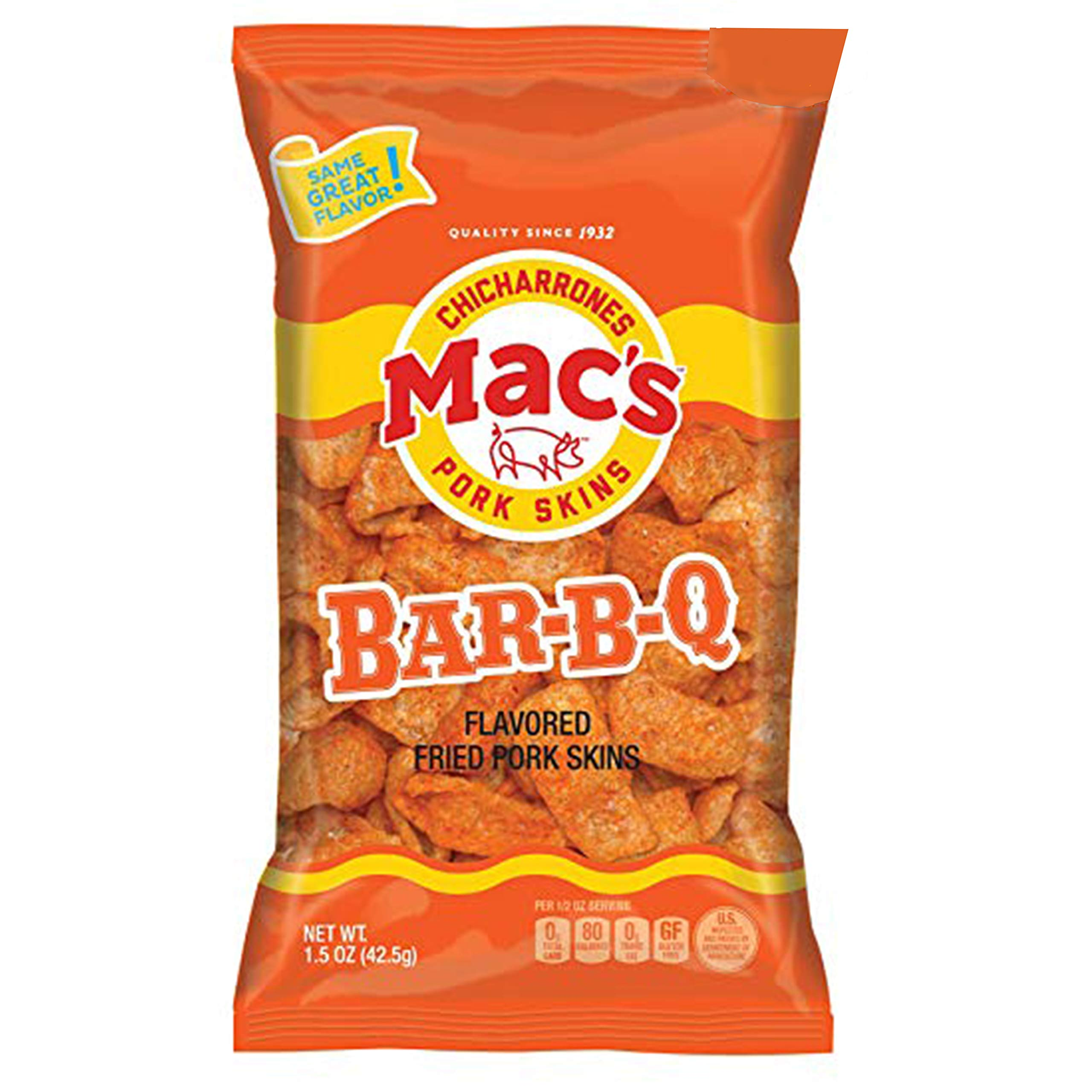 Mac's BBQ Pork Skins - Low Carb, Keto Friendly Snack - Crunchy Chicharrones/Pork Rinds (5 oz bags, 2ct)