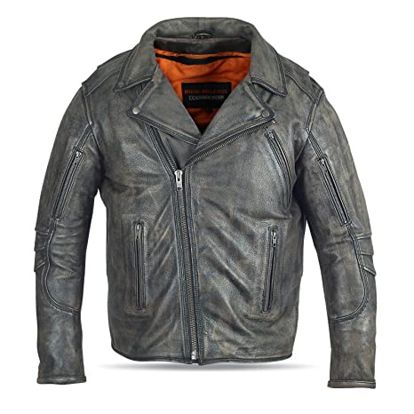 Men/'s Distressed Brown Leather Beltless Biker Jacket w// Triple Stitch Details