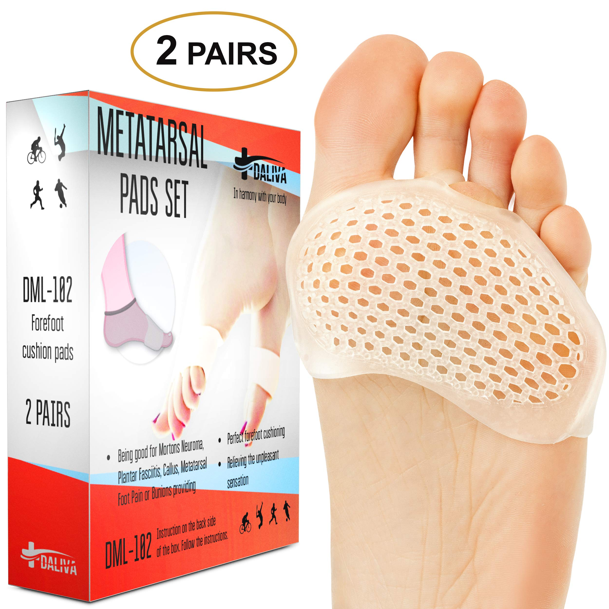 Ball of Foot Cushions - Metatarsal Pads Forefoot Pad - Metatarsal Cushion Mortons Neuroma - Metatarsal Foot Pads - Gel Foot Cushion - Mortons Neuroma Callus Metatarsal - Soft Gel Inserts by DALIVA