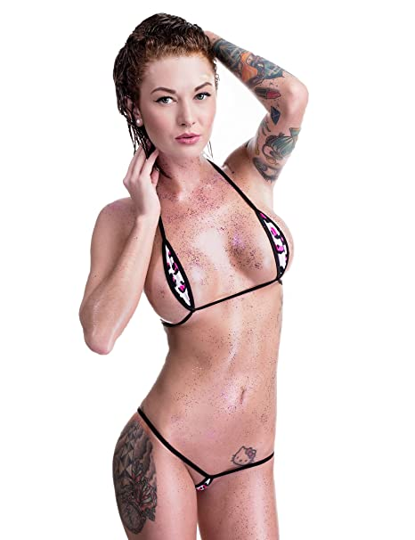 2578238bfac Amazon.com: White Pink Leopard Sexy Mini Teardrop Bikini 2pc Micro G-String  Extreme w/ Black: Clothing
