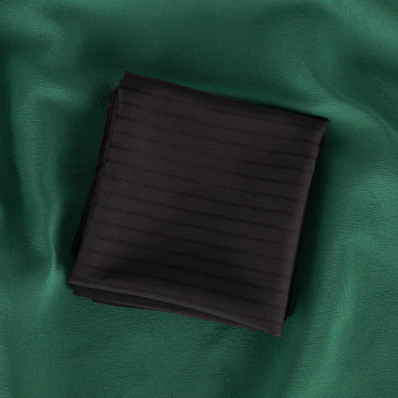 ZESTILK Silk and Cotton Handkerchief (Stripe Black) SCH08 by ZESTILK (Image #2)