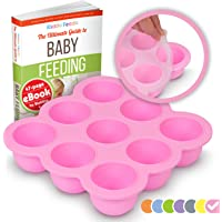 KIDDO FEEDO Baby Freezer Cube and Weaning Tray with Silicone Clip-on Lid - BPA Free & FDA Approved - 9 x 75ml portions - Multipurpose Use - FREE eBook by Award-winning Author/Dietitian - Pink