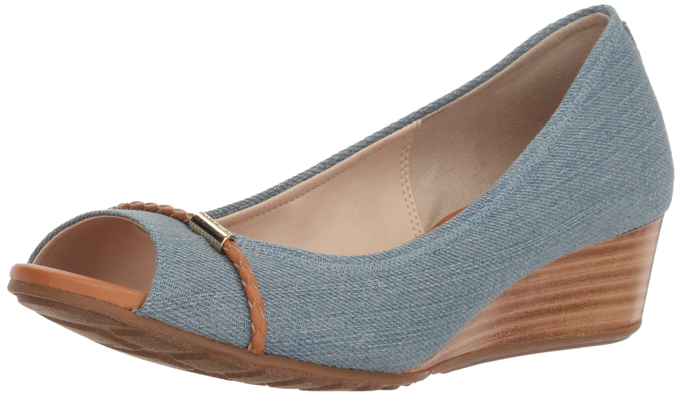 Cole Haan Women's Emory OT Wedge with Braided Band Pump, Riverside Denim, 6 B US