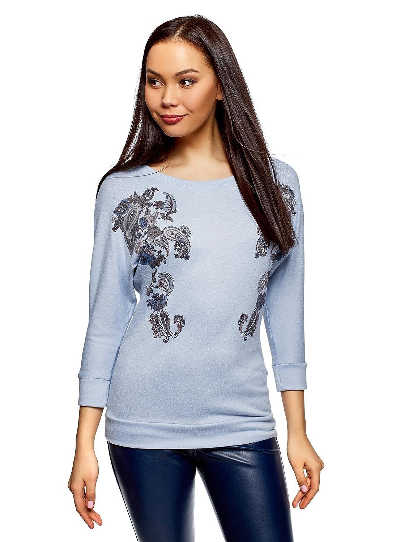 oodji Collection Damen Pullover mit Druck und Fledermausärmeln