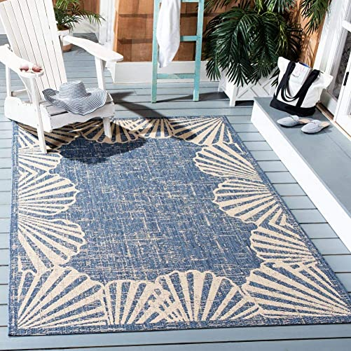 Safavieh Courtyard Collection CYH8815-23321 Seashell Border Indoor Outdoor Area Rug, 5 3 x 7 6 , Blue Beige