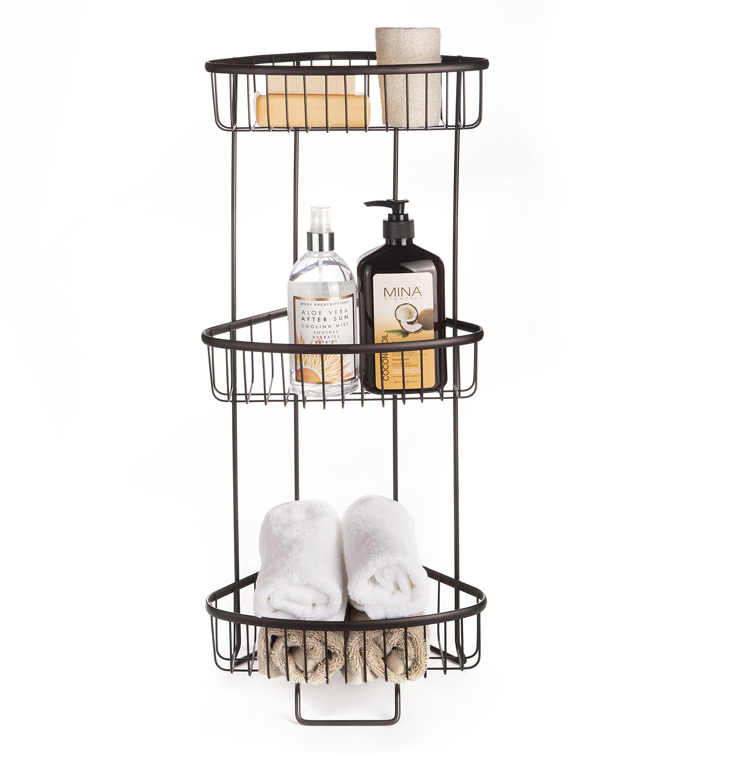AMG and Enchante Accessories Free Standing Bathroom Spa Tower Storage Caddy, FC100003 ORB, Oil Rubbed Bronze
