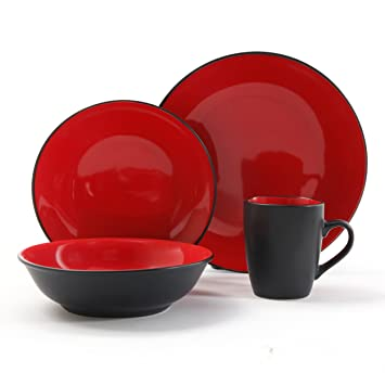 Amazing Gibson Vivendi 2 Tone Dinnerware Set, 16 Piece, Red/Black