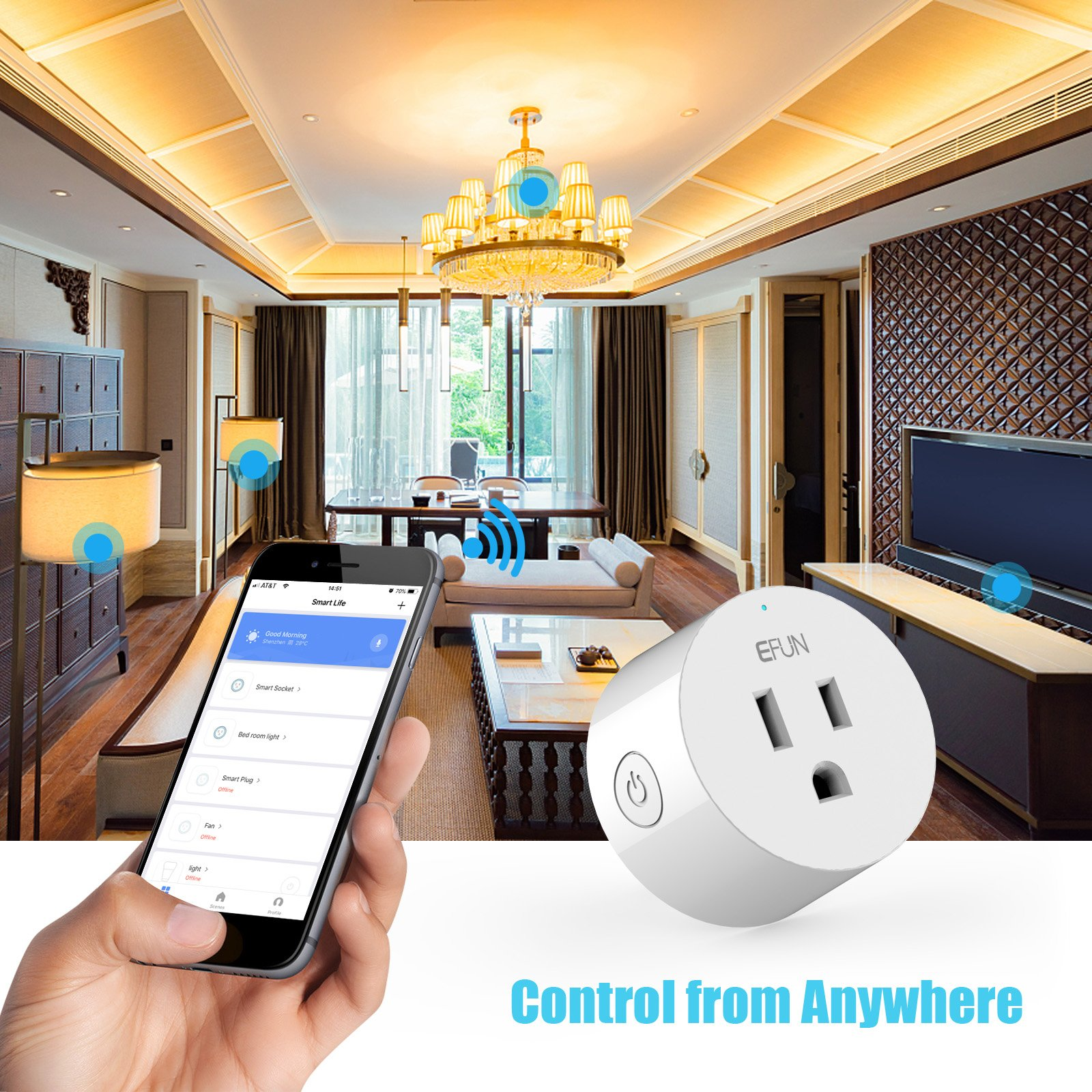 EFUN SH330W 4Piece Mini Smart Outlet, No Hub Required, Overload Protection, Fire Retardant Material, Space Saving, Works with Alexa and Google Assistant, SH330W 4 Pack, 4 Piece by EFUN (Image #7)