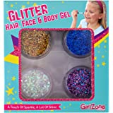 GIFTS FOR GIRLS: Face, Hair & Body Cosmetic Glitter Makeup. Great Gift, Birthday Present Idea For Girls 4 5 6 7 8 9 10 years old plus.