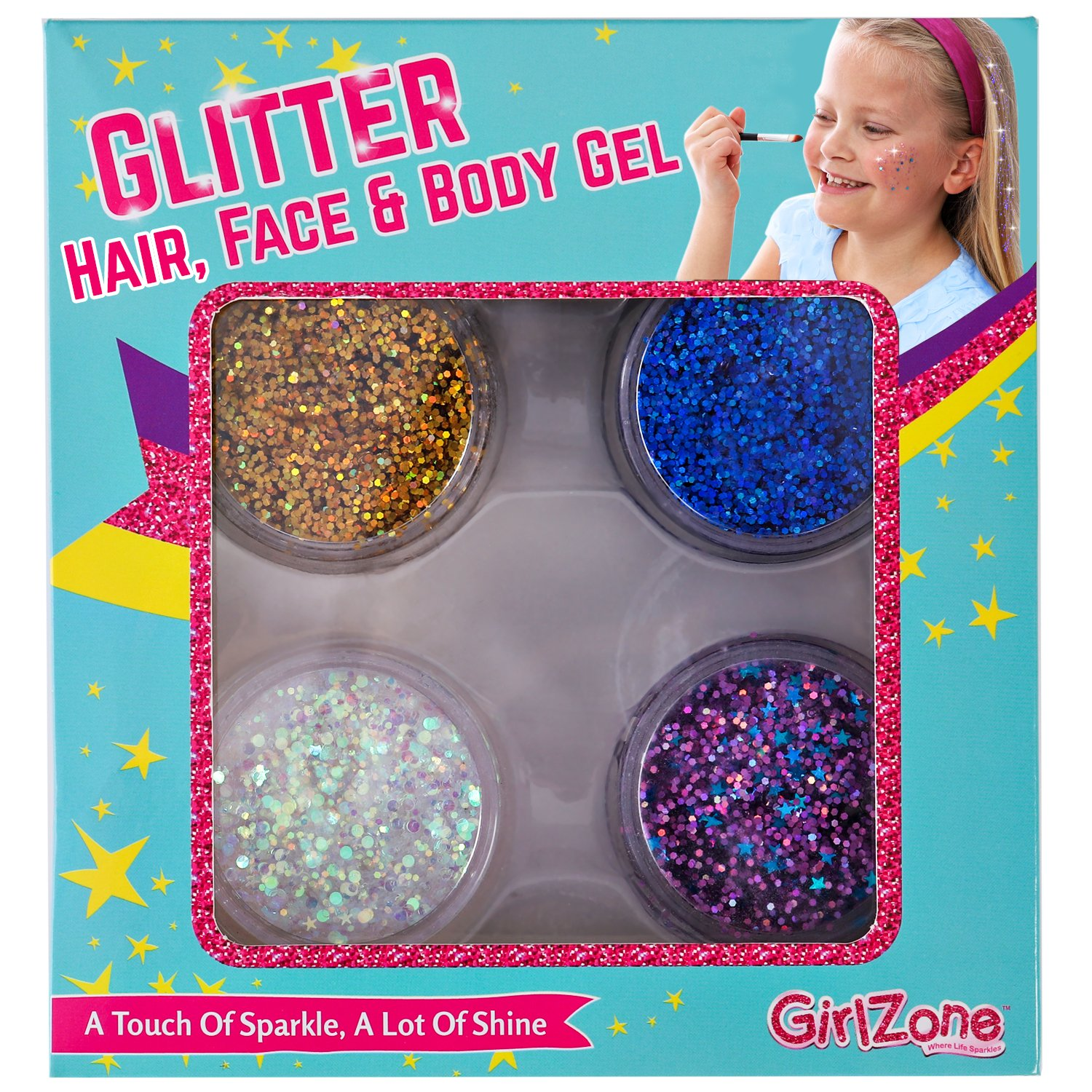 GirlZone GIFTS FOR GIRLS: Face, Hair & Body Cosmetic Glitter Makeup. Great Gift, Birthday Present Idea For Girls 4 5 6 7 8 9 10 years old plus.